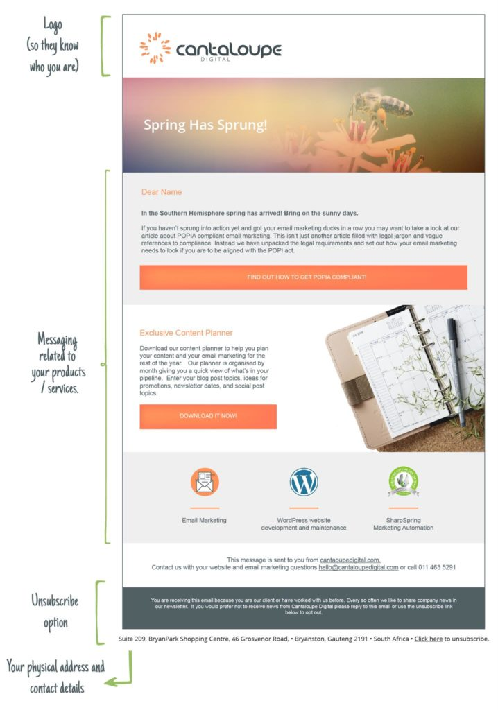 Example of a POPIA compliant email newsletter